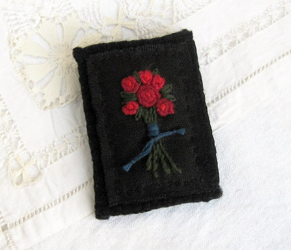 Fabric Brooch Hand Embroidered Red Rose Pin on Black Linen