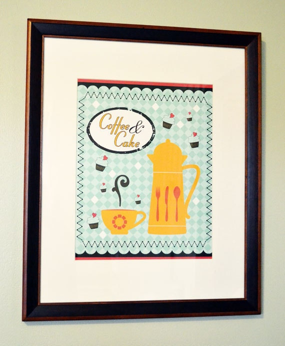 Art Print, Wall Art, 11x14, Vintage Inspired, Coffee and Cake Art