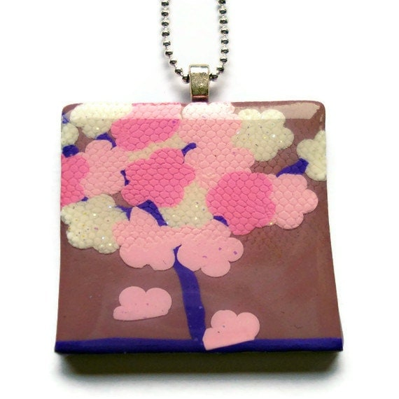 Pink and purple Cherry blossom tree square by KireinaJewellery |  Craft Juice :  fashion handmade kireina jewellery style