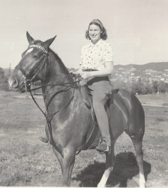 Vintage 1940s Horse Photograph, girl on horse