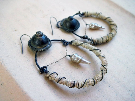 Fall into the Sun. Rustic Victorian Tribal Earring Assemblage with Turkoman Buttons.