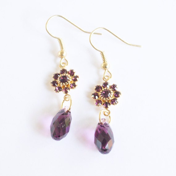 Plum Swarvoski Floral Dangle Earrings Silver Plated Bridesmaid Earrings