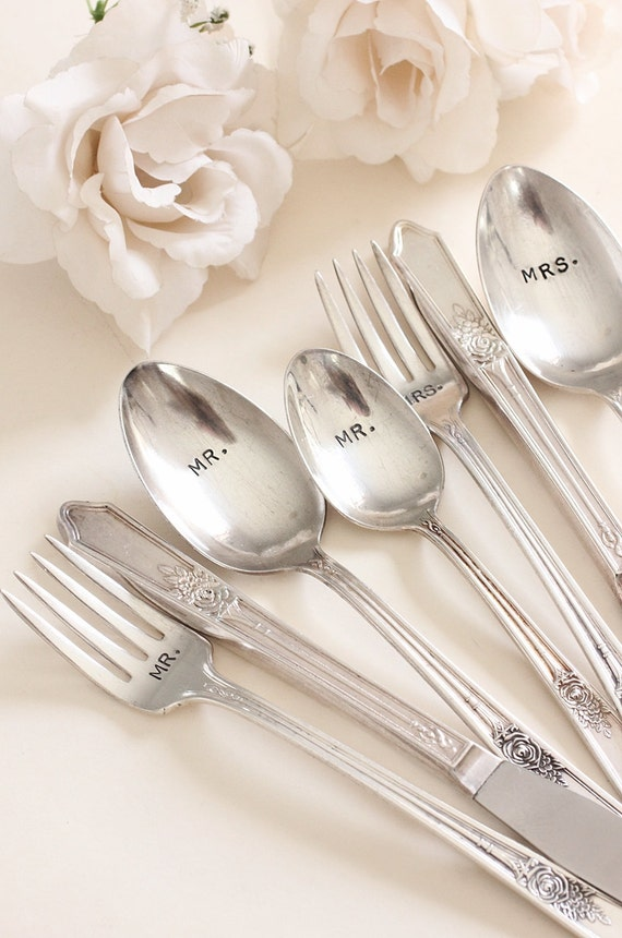 Mr. Mrs. Silverware Set 1933 Rosedale 8 pieces hand stamped