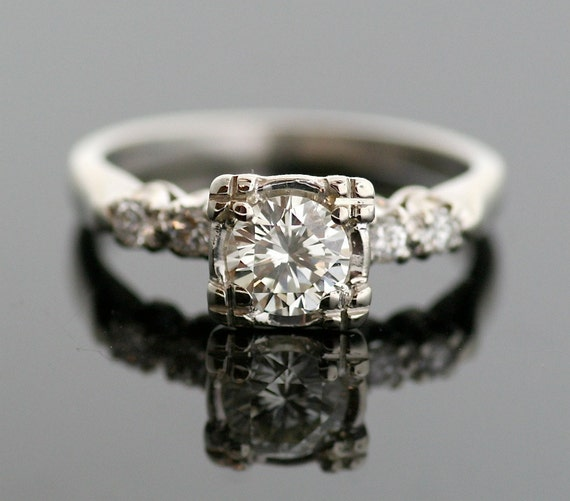 reserved vintage engagement ring vintage 1950s 14k white gold diamond ring - Wedding Rings Vintage