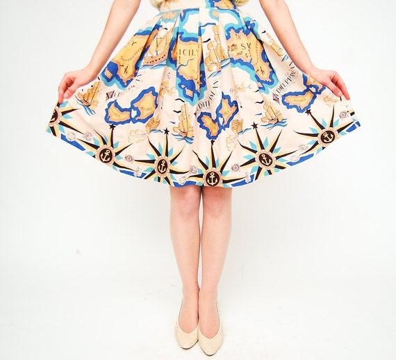 Vintage 1950s Skirt - 50s Full Skirt - Mediterranean Tourist Print