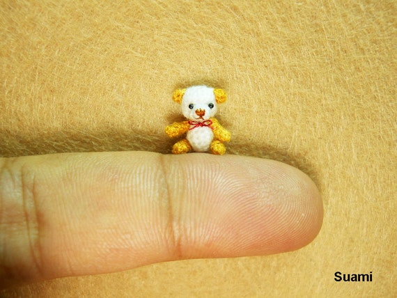 Extreme Micro Bear - Tiny Dollhouse Miniature Animals - 1/2 Inch Scale Crochet  White/Gold Bear -  Red Bow