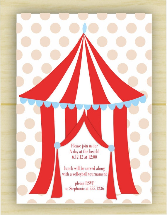 Red and White Beach Cabana Party Invite (set of 10)