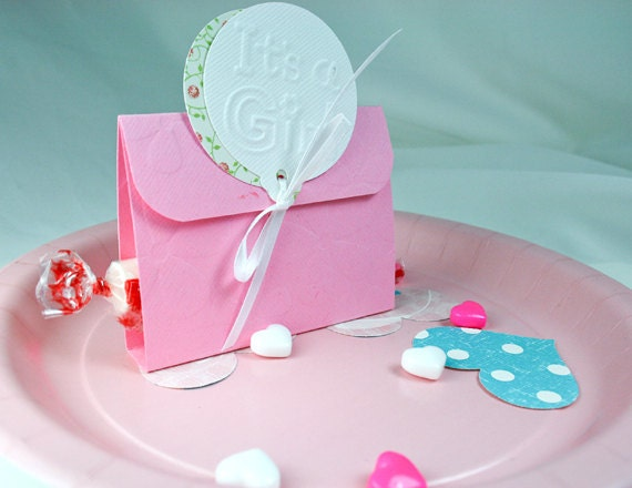 Baby Shower Favor Card-Its a Girl Pink with accenting ribbon and cut out paper Balloons