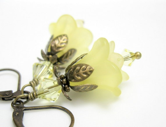 Soft, Jonquil, Yellow, Lucite, Swarovski, Flower Earrings