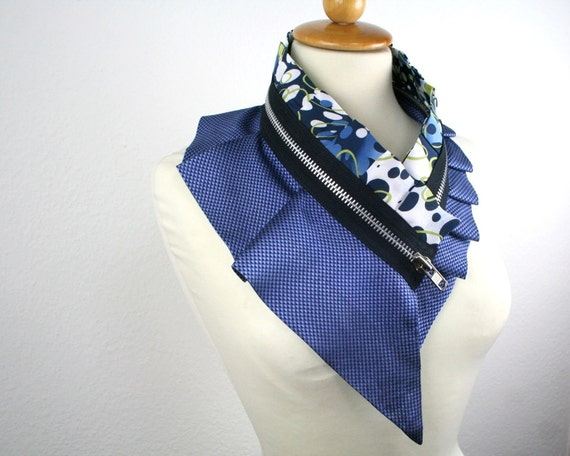 Massive silk collar - zipper collar - upcycled silk and satin - unique piece - royal blue lime green black white - by Bartinki