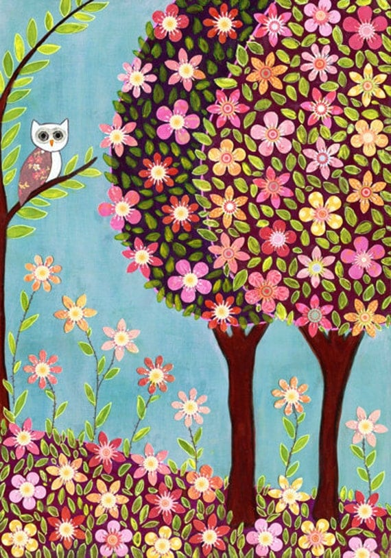 Woodland Owl Painting Art Print Block