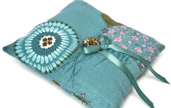 Ringbearers pillowvintage fabric turquoise wedding ring pillow