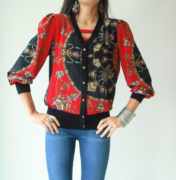 80's Glam Vintage SCARF PRINT Cardigan Jacket Gem Chain Print V-Neck Puff Sleeve