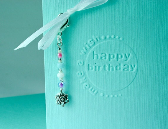 Happy Birthday Card, Embossed, Aqua, Make a Wish, with beaded Flower Clip on Zipper Charm