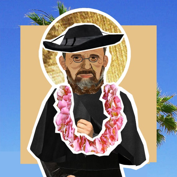 St Damien of Molokai The Leper Priest Catholic saint magnetic paper doll