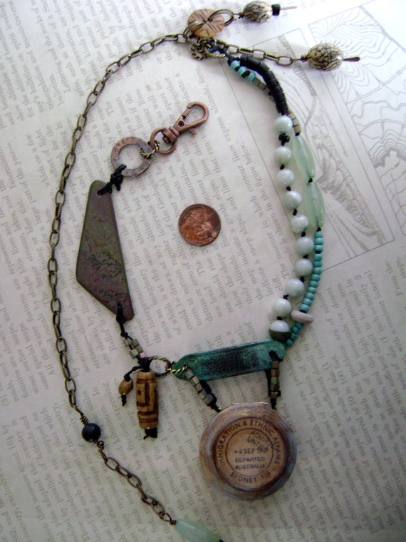 Day at the Beach assemblage diorama necklace by Anvil Artifacts