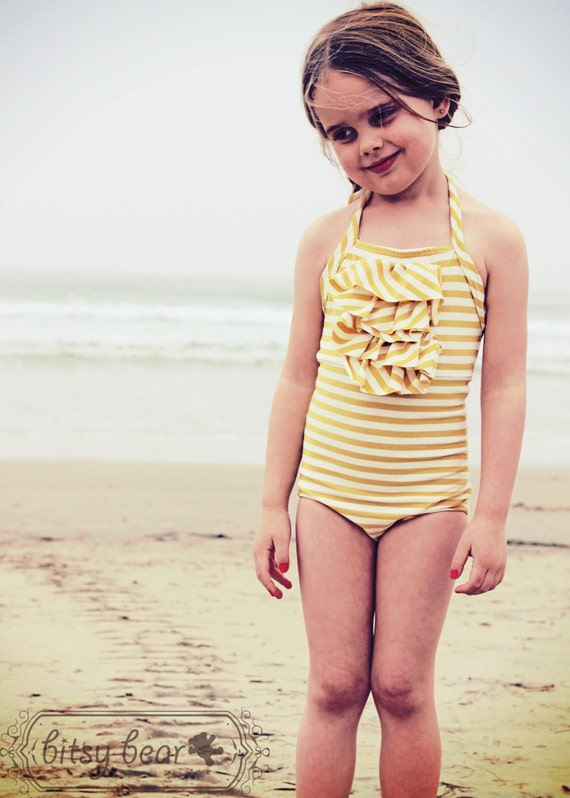 Golden Halter Swimsuit for toddler and girl- READY TO SHIP