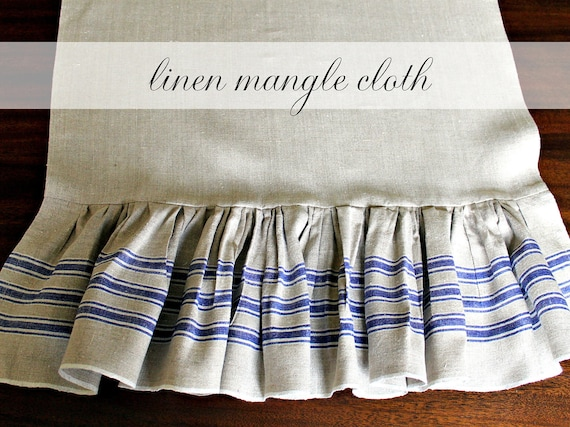 Vintage Linen Mangle Cloth Table Runner Flax with Blue Stripes Ruffle 18.5 x 67