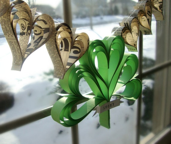 Shamrocker  a garland of hand cut hearts and custom banner St Paddys day