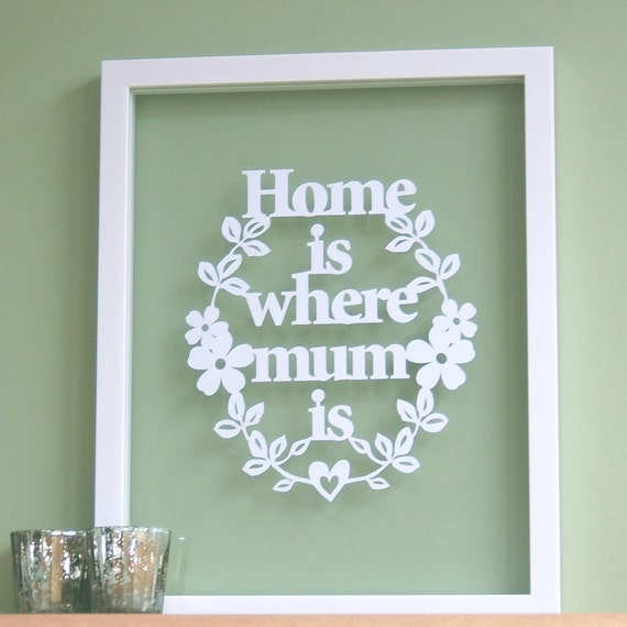 Home is Where Mum Is - Papercut Wall Art