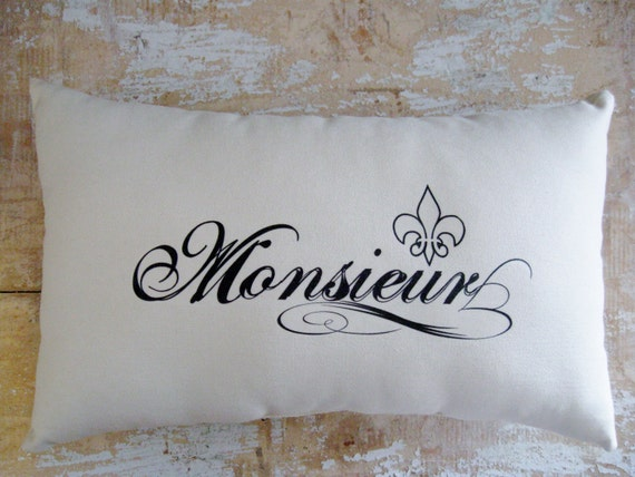 Monsieur Pillow, Fleur de Lis, French, Paris , French Country Home, Cottage Decor, French Decor
