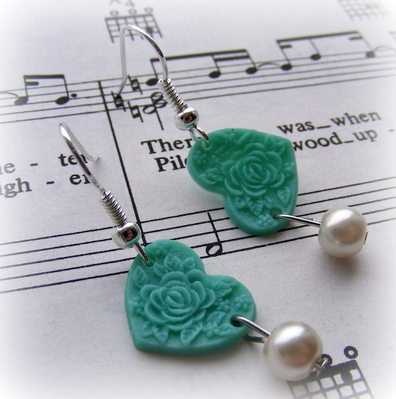 Earrings Vintage Rose Heart
