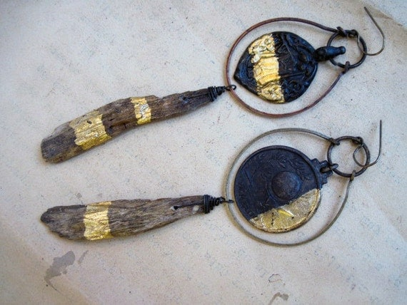One Night's Immortality. Gold foil gilded wood assemblage earrings with antique medals.