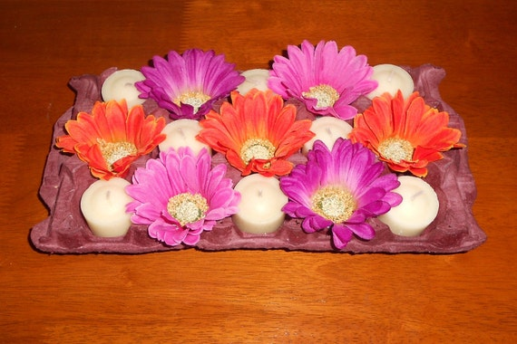 Springtime Fiesta: Vibrant Orange, Pink and Purple Gerber Daisy Candle Recycled Egg Carton Centerpiece