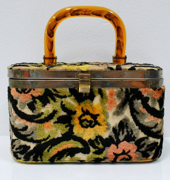 Vintage Carpet Handbag with Tortoise Lucite Handle