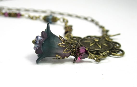 Purple, Teal, Swarovski, Vintage Style, Flower Necklace