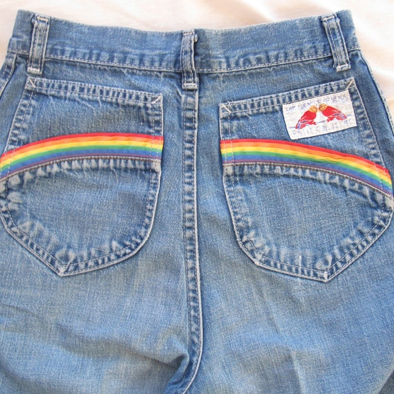 High Waisted & wide leg 70's Rainbow pocket Jeans size 3/4