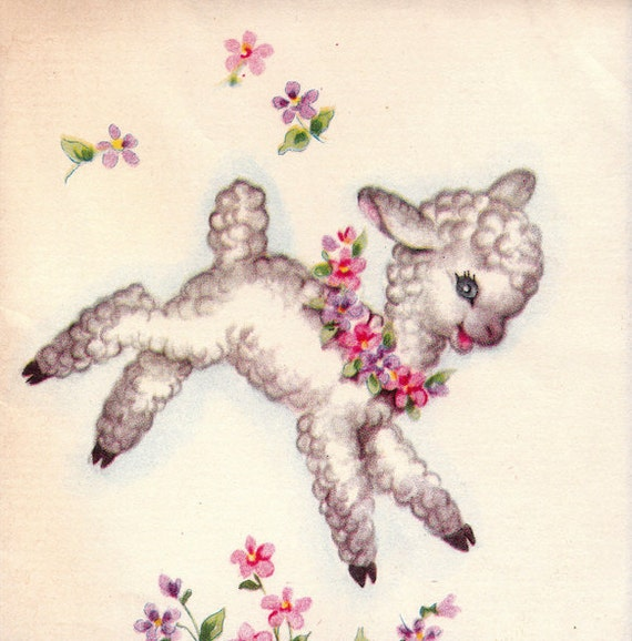 Vintage 1950s Little Easter Lamb Notelet DOLLAR Greetings Card (B64)