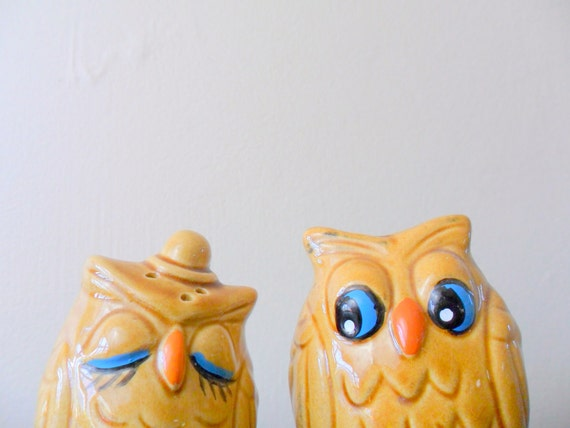 vintage his and hers adorable ceramic owl salt and pepper shakers, couple, romance, kitsch, 1960s