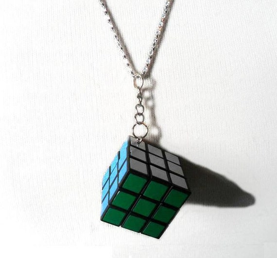 Rubik's Cube Necklace: Rubix Cube Pendant Play Time Fun Playful Game Jewelry Multicolored Rainbow 80s SugarNSpiceJewellery
