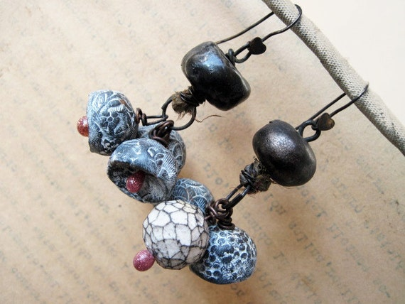 Bitter Poet. Ceramic and Polymer Clay Art Bead Dangles.