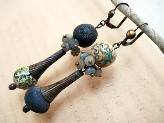 The Vagabond. Ceramic Art Beads and Labradorite Gems Rustic Gypsy Tribal.
