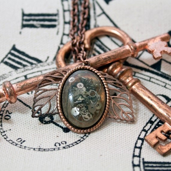 Antique Copper Watch Gear & Leaf Necklace