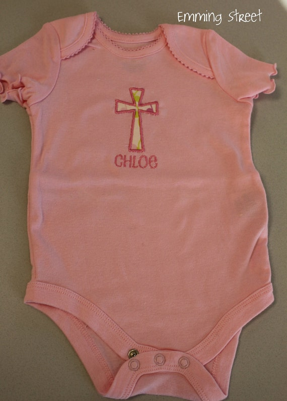 Custom Personalized Cross Baby Onesie