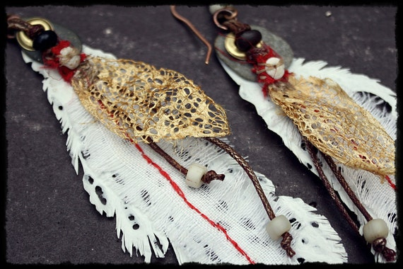Rustic, primitive Fused Plastic Bag Feathers for your ear lobes