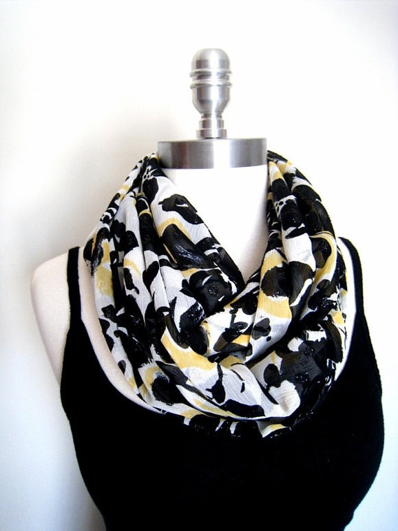 Infinity scarf in black rose crinkled Chiffon Scarf