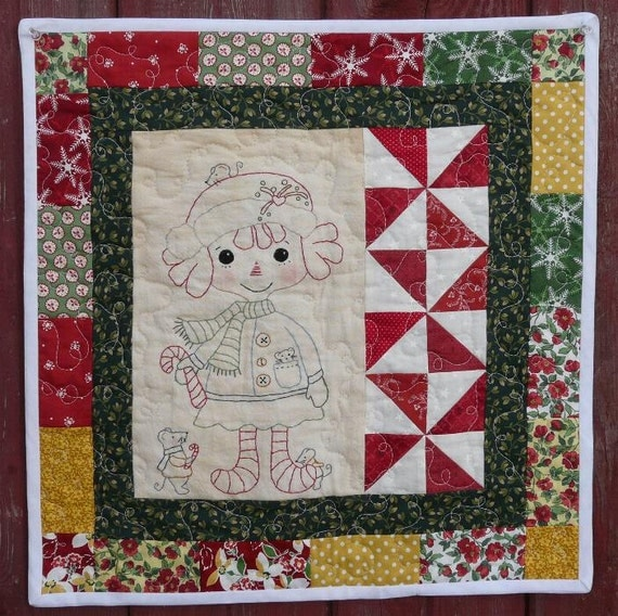 Candy Cane RAGGEDY Ann and Mouse mice E PATTERN - Quilt Pdf Wallhanging stitchery embroidery christmas primitive doll