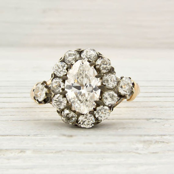 Antique .87 Carat Moval-Cut Diamond Engagement Ring