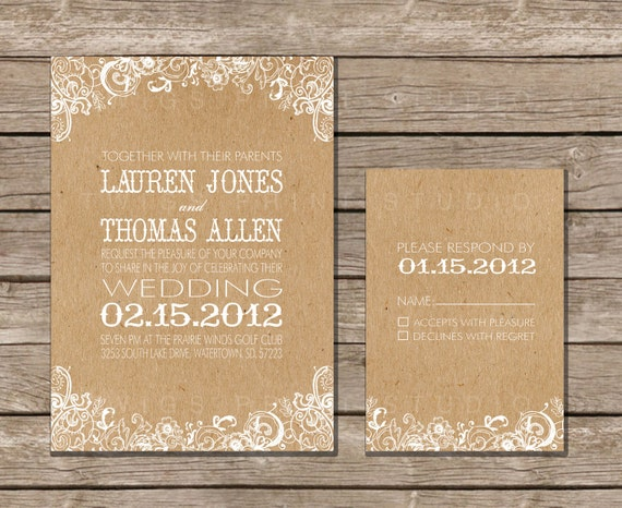 Wedding Invitation White Floral & Kraft Paper
