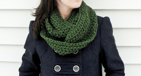 Crocheted Cowl Scarf in St. Patrick's Day Forest Green