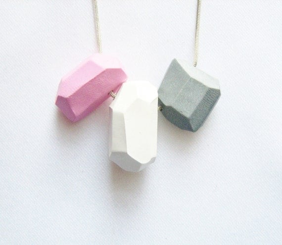 Pastel geo necklace in soft pink, grey, white - Rare Diamonds Collection