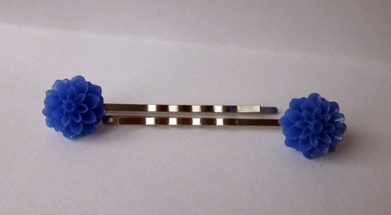 Blue Resin Dahlia Bobby Pins Set of 2 - Hair Accessory