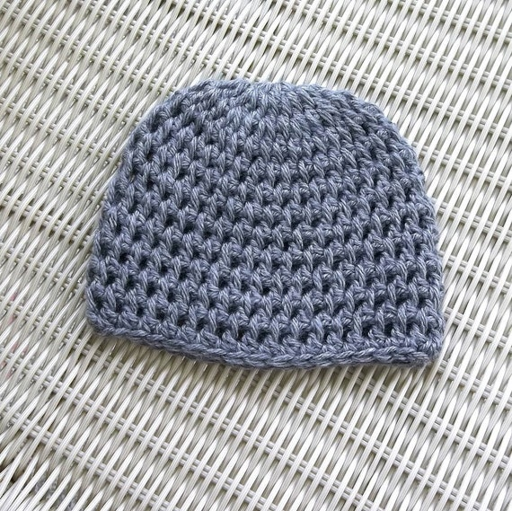 Crocheted Hat Newborn to 3 Months, Grey, Unisex , Soft