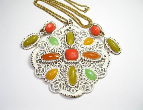 Mod, 1960s, Vintage Jewelry, Pendant Necklace, Earrings