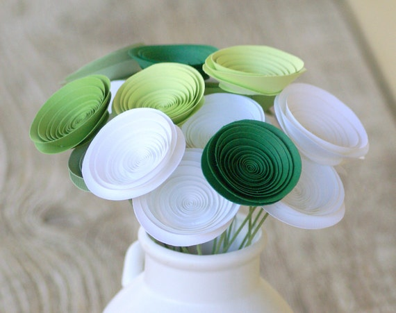 Earth Day Green Paper Flowers - Green Centerpiece - Eco Friendly Alternative Floral Arrangement