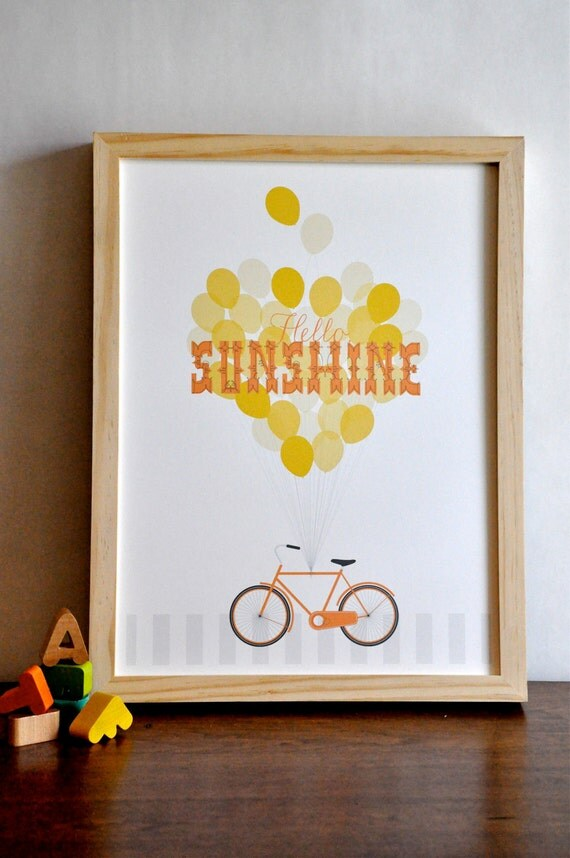 Hello Sunshine Typography Bicycle Print retro modern orange nursery wall art poster  - 12x16 children decor